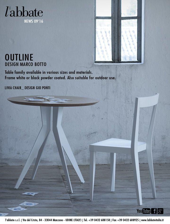 Outline table | Design Marco Botto. Livia chair | Design Gio Ponti. www.labbateitalia.it
