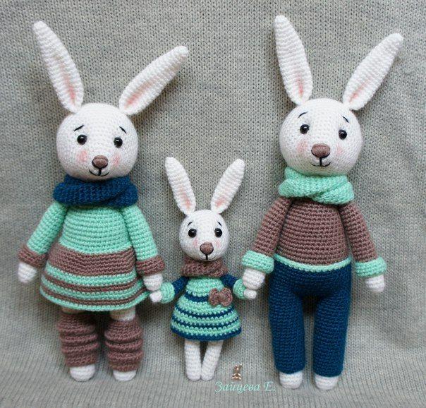 Семья зайцев | 800 схем амигуруми на русском