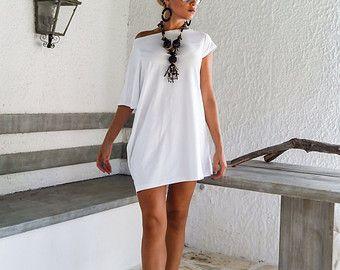 Bianco abito asimmetrico - camicia - tunica / Plus Size Abito / asimmetrica Plus Size abito - camicia - tunica / Oversize bianco camicetta / #35014