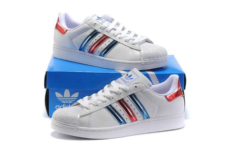 Adidas Original Sueperstar Optimum Steuern Lauf 2.0 Weiß /Blau/Rot Gehen Schuhe G50958