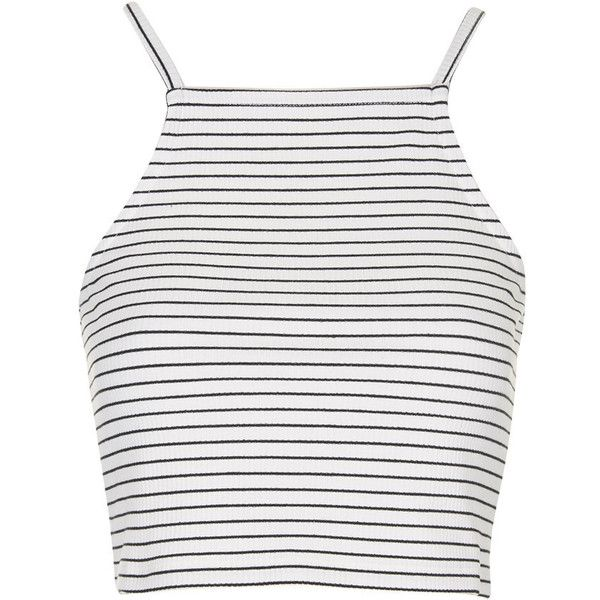 TOPSHOP PETITE Striped Crop Top found on Polyvore