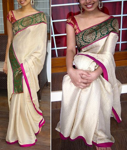 L | Rs. 4350 Creme and gold chiffon saree with pink semi raw… | Flickr