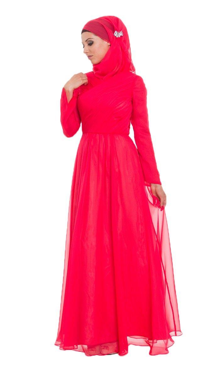 Red Silk Chiffon Islamic Formal Long Dress with Hijab and Jeweled Pin  |  at Artizara.com