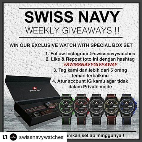 REPOST!!!  Bismillah semoga beruntung bisa mendapatkan jam tangan swiss army dari @swissnavywatches  Ikutan juga yukk giveawaynya  #Repost @swissnavywatches with @repostapp ・・・ Hi sahabat Swiss Navy, jangan lewatkan Event Giveaway kami pada periode 2017.  Kami akan mengadakan Weekly Event dan akan diumumkan setiap minggunya. Caranya mudah yaitu :  1.Follow instagram @swissnavywatches 2.Like & Repost foto ini dengan hashtag #SWISSNAVYGIVEAWAY 3.Tag kami dan lebih dari 5 orang teman…