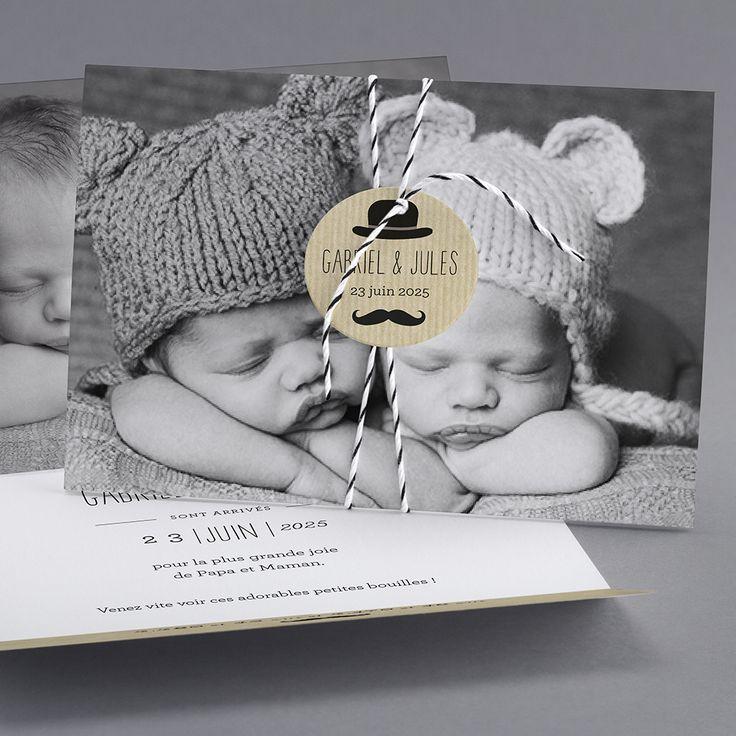Faire-part de naissance personnalisés, faire-partardoise, vintage, jumeaux, original, nouveauté fpc