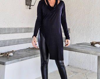 Black Asymmetric Top Blouse  / Black Top Blouse  / Asymmetric Plus Size Blouse / #35205