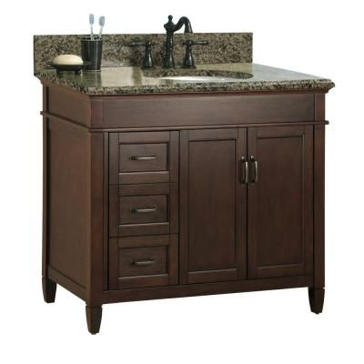Finished in a rich mahogany, the Foremost Ashburn 37 in. Vanity Cabinet with Quadro Granite Top is roomy enough to store all of your bath essential...