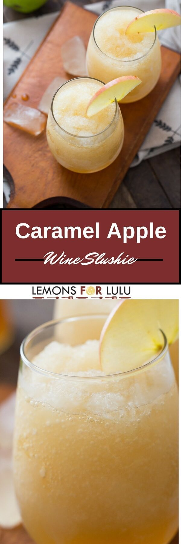 Frozen wine, apple cider, vodka, and liqueur make these the perfect fall flavored wine slushies! This is the perfect beverage for fall!