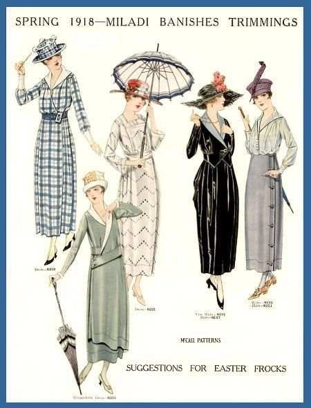 1918; such a pretty year of fashion. <- Just before 1920s era, but interesting!