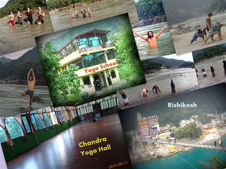 Chandra Yoga School Building and Yoga Hall in Rishikesh. Asana Picture with 200 hour yoga teacher training students near holy Ganga River.