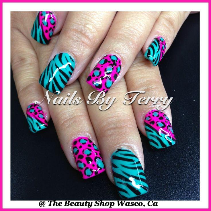 Turquoise and pink animal print nail art design