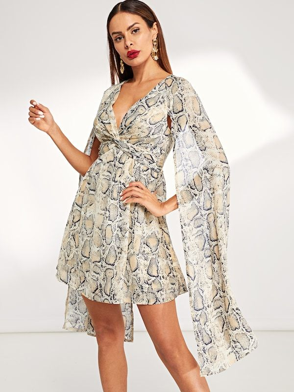 dc6d85b701 V-Neck Sheer Snake Print Dress -SHEIN(SHEINSIDE) | To Slay or not to ...