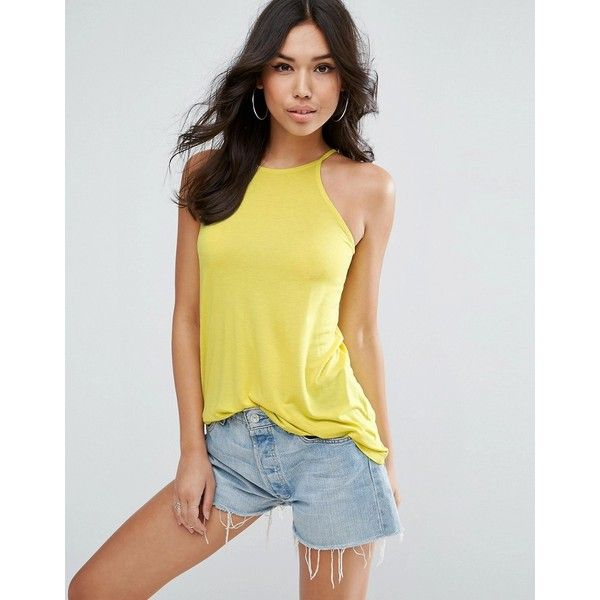 ASOS Cami With Skinny Straps and Swing Hem (15 PAB) ❤ liked on Polyvore featuring yellow, yellow cami, slimming cami, high neck cami, strappy cami and high-neck camisoles