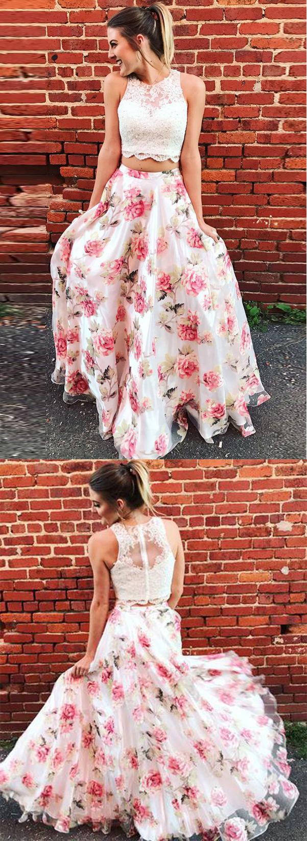 Two Piece Floral Long Lace A Line Prom Dress Graduation Party Dress #flower #twopieces #lace #aline #floral #prom #okdresses
