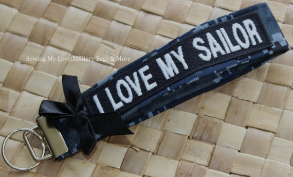 Navy Digital Camo Fabric Fob Keychain with by SJDesignsandMore, $13.00