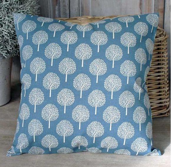 Tree Print Cushion Blue - £22.00 - Hicks and Hicks