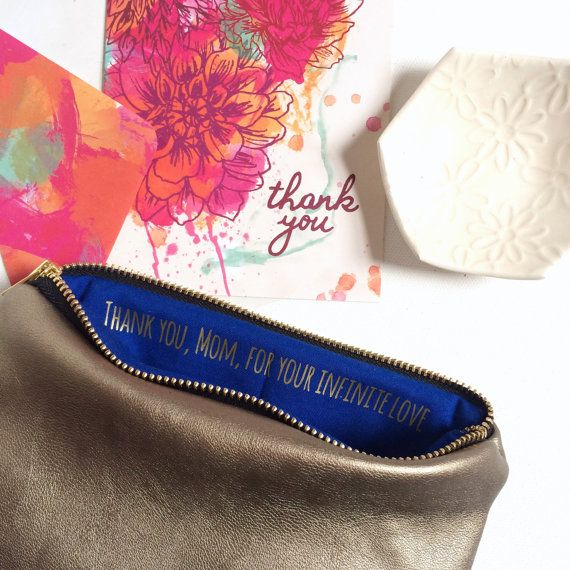 Personalized Gift for Mother of the Bride // Leather Cosmetic Clutch Bag with Hidden Message