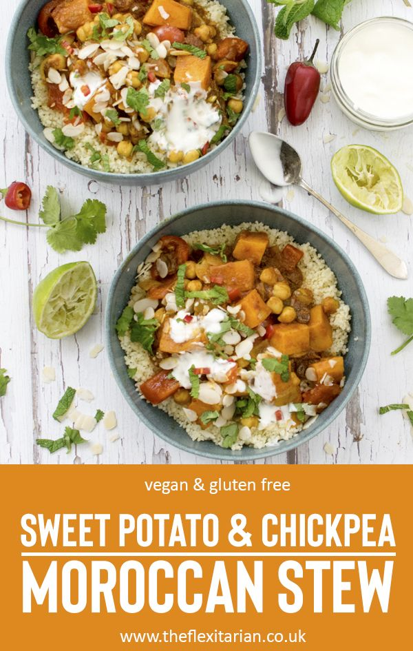 Sweet Potato Chickpea Moroccan Stew Vegan