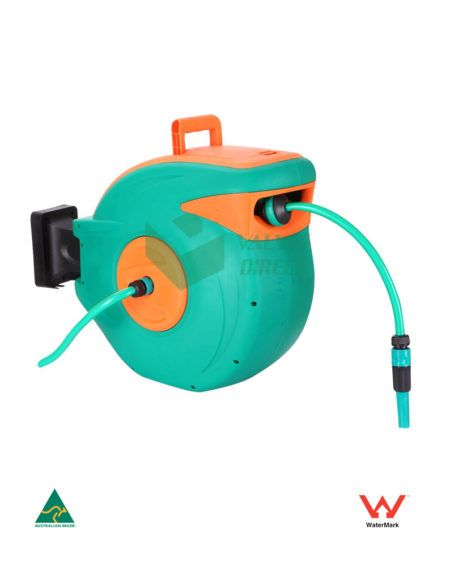 Valves Direct - 20m automatic retractable garden hose reel with 2m Inlet hose reel. High Quality Material and wall mountable. Case Material - PP and Hose material - PVC.