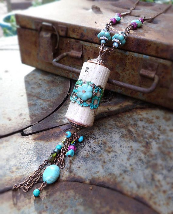 Hey, I found this really awesome Etsy listing at https://www.etsy.com/listing/216593622/southwestern-wine-cork-necklace-upcycled