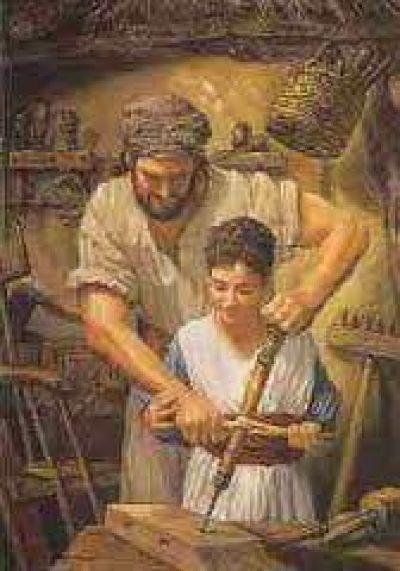 Saint Joseph teaching Jesus to to be a carpentar