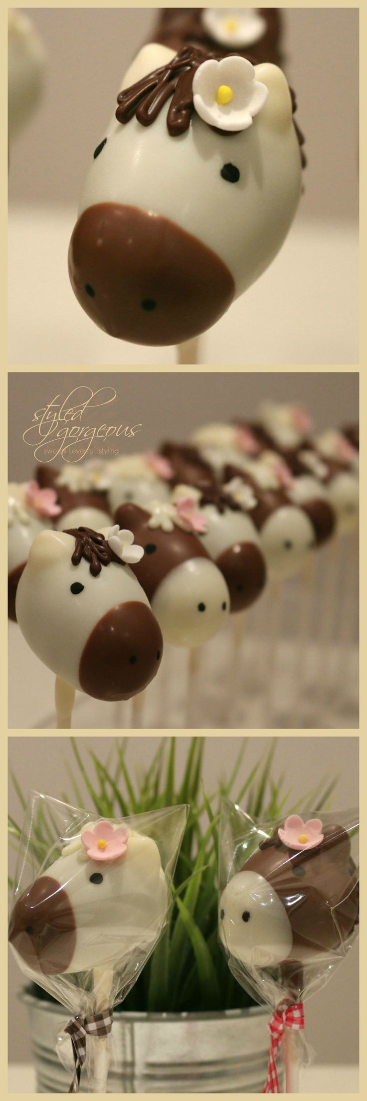 red velvet pony cake pop favours