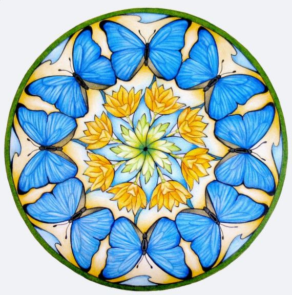 Blue Butterfly Mandala by hollizollinger