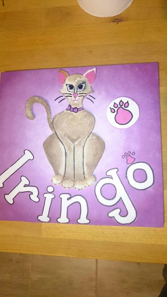 Children door hanger with cat