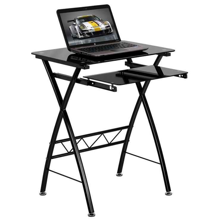 Black Tempered Glass Computer Desk w Pull-Out Keyboard