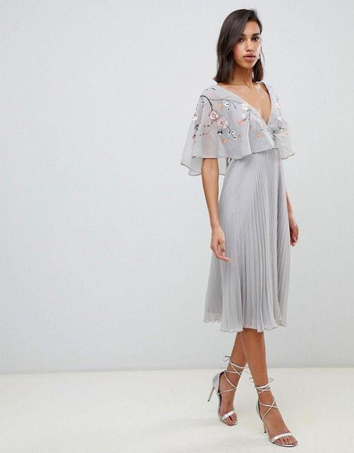 06e20bb3f22cd ASOS DESIGN | ASOS DESIGN flutter sleeve midi dress with pleat skirt in  embroidery