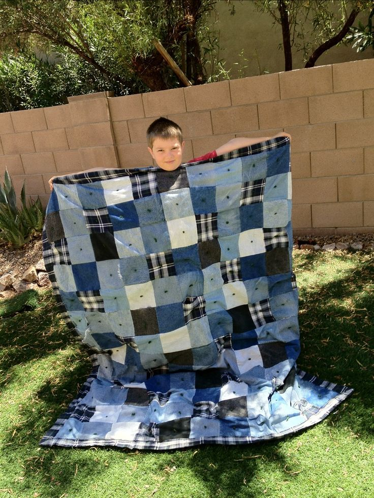 Jean and Flannel Quilt -- I have a couple of these that my aunt made me when I was little...AWESOME!!