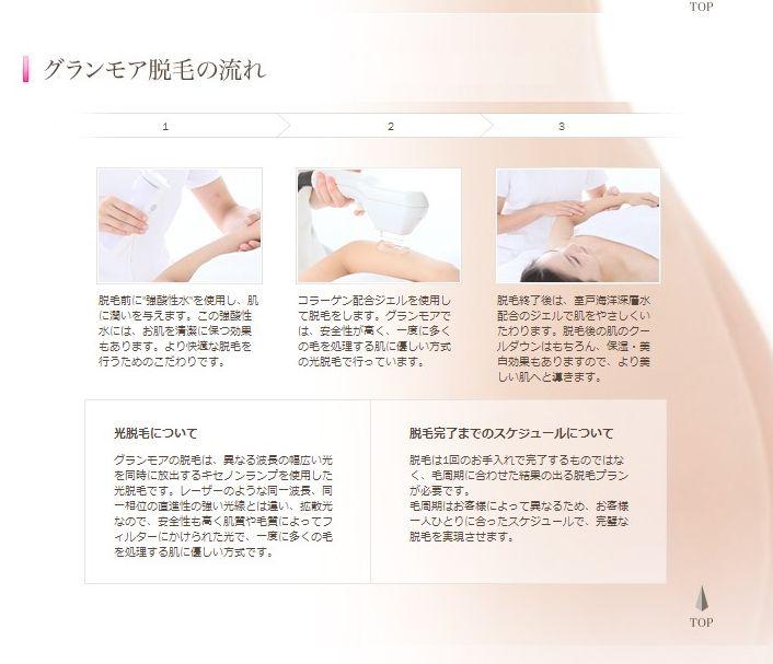 脱毛|エステならグランモア  (via http://www.granmore.co.jp/depilation/ )