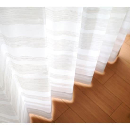 北欧デザインのペアレースカーテン<ボーダーレースカーテン>100サイズのびっくりカーテン