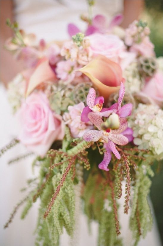 cascading pink and green bridal bouquet by couture fleur