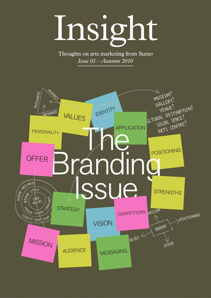 Insight - The Branding Issue  Thoughts on arts marketing from leading creative agency, Sumo. In this issue we look at branding, with a behind the scenes look at the process a cultural organisation went through to bring their brand in to the 21st century, we talk about branding mistakes to avoid and examine the trend for flexible brands.