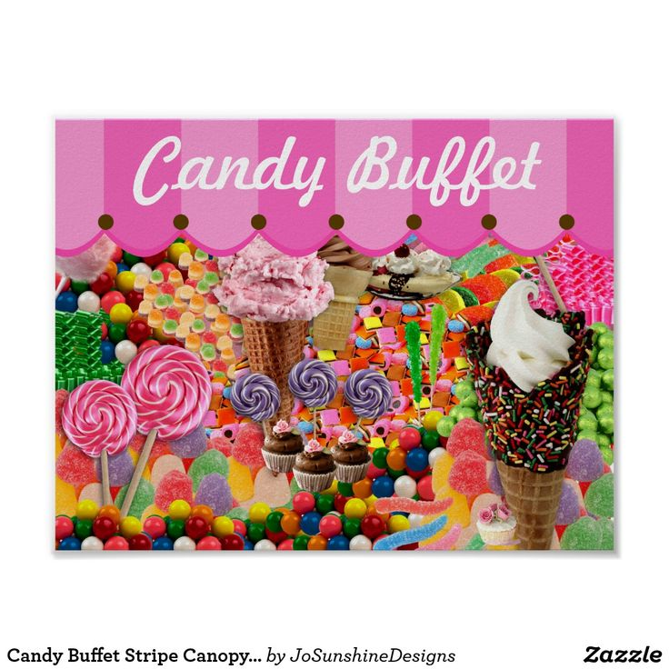 Candy Buffet Stripe Canopy Wedding Poster Sign