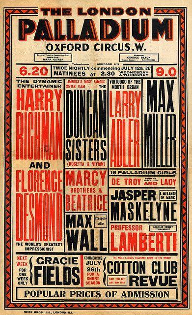 Vaudeville Poster July 12, 1937. Original Vaudeville Poster from The London Palladium.