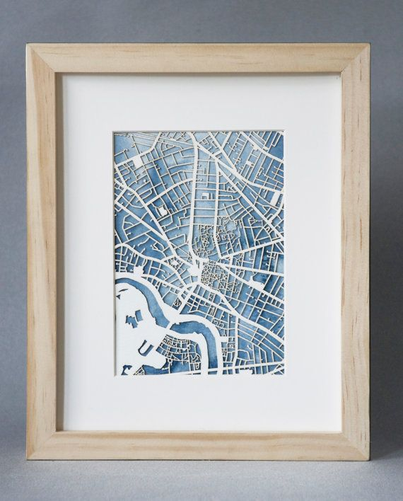 Commission a custom laser-cut map of a beloved city for one-of-a-kind art you'll return to time and again. #etsy