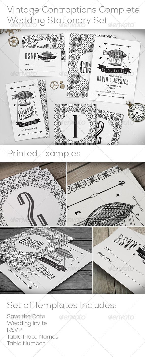 Vintage Contraptions Complete Wedding Stationery by Valeik This Stationery Set contains editable .AI templates for every piece of stationery. The set features a repeat pattern made with the