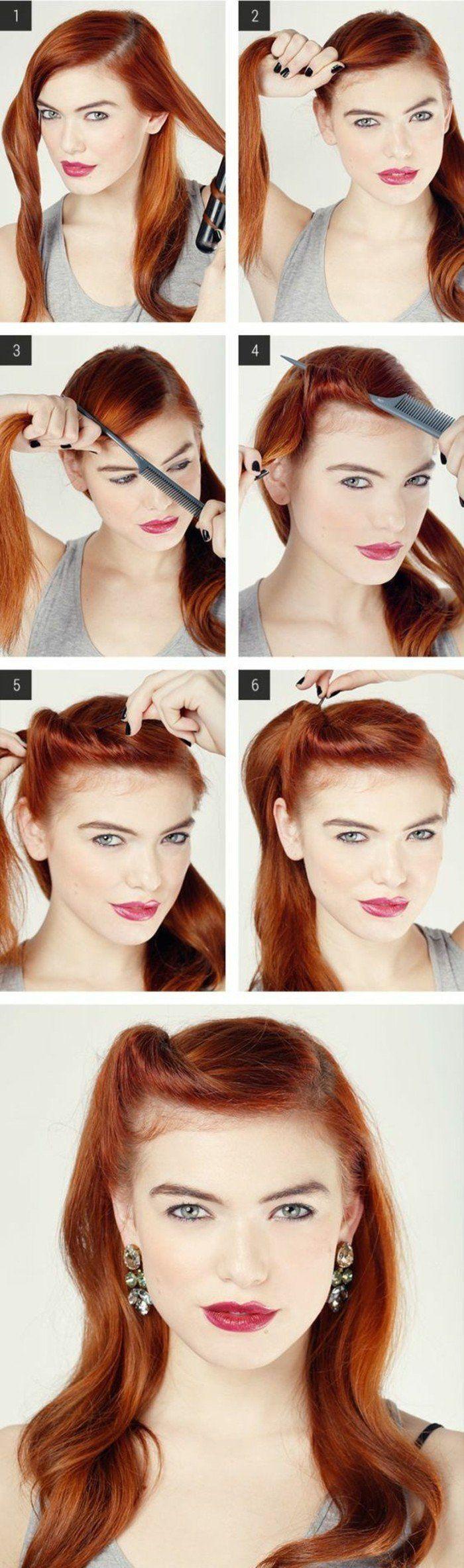 coiffure simple et rapide, cheveux rouges femme, tutoriel coiffure