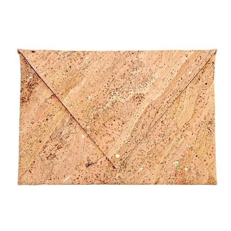 Large envelope cork bag with tinge of gold