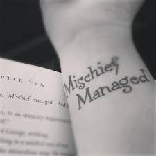 Image result for mischief managed tattoo || love this