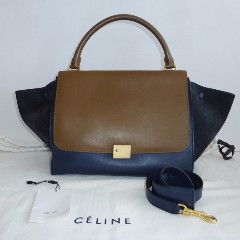 CELINE Smooth Calfskin Suede Medium Trapeze - with cloth bag – kitty butler