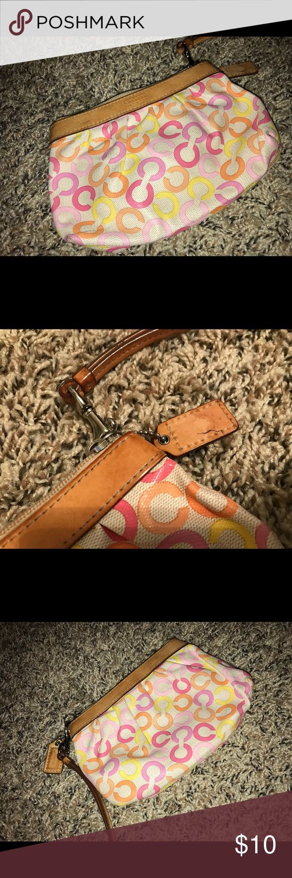 Coach Wristlet or Coin Purse or Clutch ✨ Small Coach Wristlet Has ink stains on exterior/interior (pictured) Still in usable condition Coach Bags Clutches & Wristlets