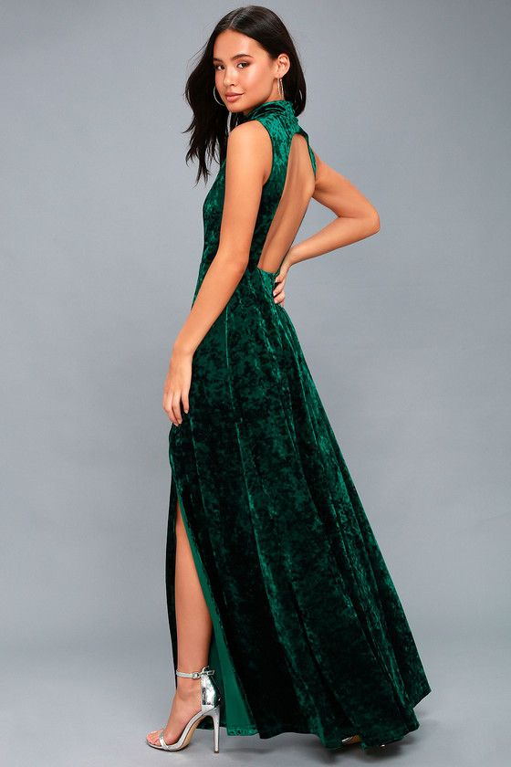 Lulus Exclusive! Feel like a priceless work of art when you wear the In the Louvre Forest Green Velvet Backless Maxi Dress! Stunning crushed velvet falls from a mock neck into a sleeveless, darted, and princess-seamed bodice. Covered button closure tops an open back, and full maxi skirt with side slit. Hidden zipper/clasp.