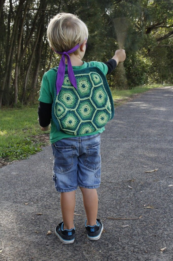 """Kowabunga! I've finished my son's Teenage Mutant Ninja Turtle backpack. That was an epic project dudes. When I found the """"Little Turtle Backpack"""" on Ravelry it went straight on my wish list and supplies were gathered back in October last year."""