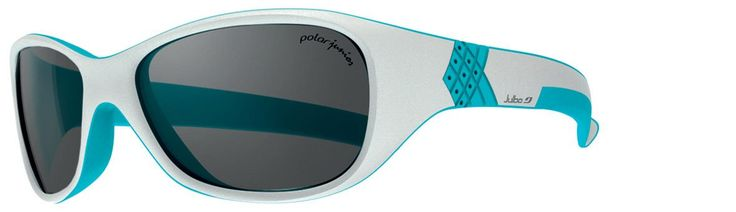 Julbo Kid's Solan Sunglasses, Polarized Junior Lens, Grey/Blue, 4-6 Years. Polar Junior lens. Rubber temple inserts help keep glasses securely on a child's face. Free of finger-pinching hinges, these have flexible temples that let kids pull the sunglasses on and off repeatedly without damaging the frames. Lightweight polycarbonate lenses are 20 times more impact resistant than glass and less than one-third the weight.