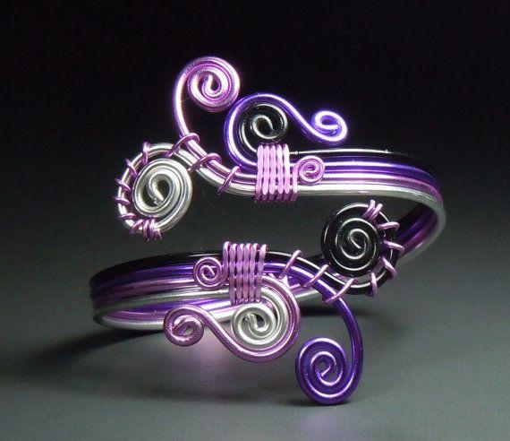 Spiral Burst Overlappling bracelet in Purple hues by melissawoods, $25.00