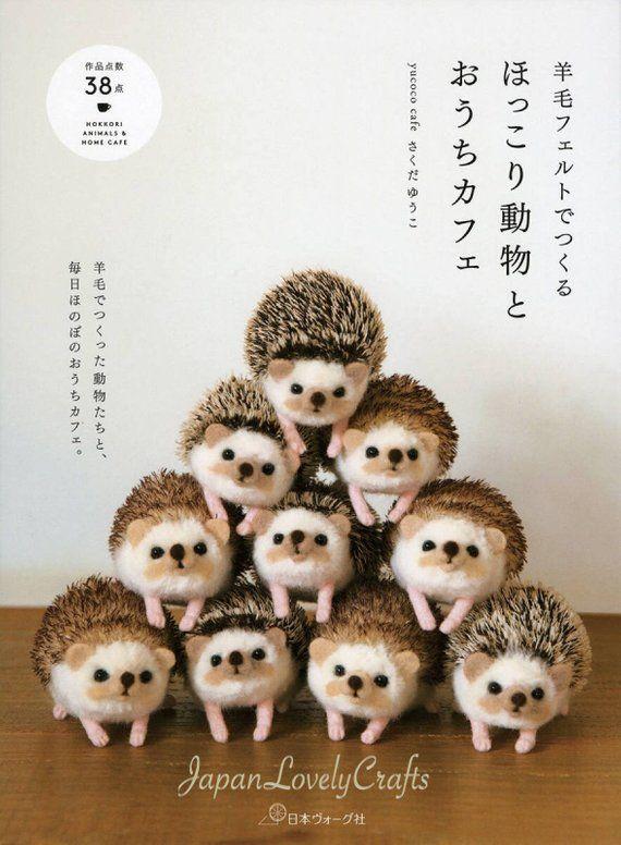 Wool felt animals & cafe zakka pattern, japanese needle felting.