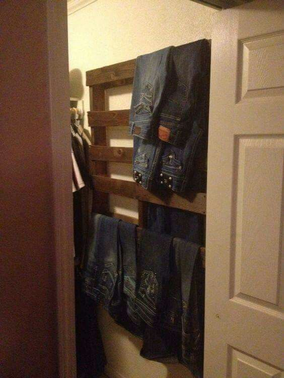 Diy....pallet hung in the closet on the wall..... for your jeans.